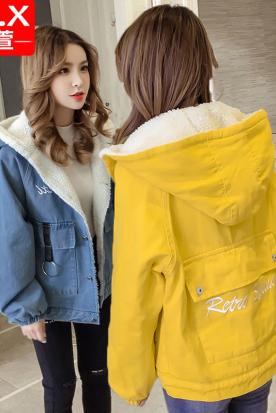 墨西哥国内快递到加绒加厚牛仔外套女士秋冬季2020新款韩版初中学生百搭羊羔绒衣服时效