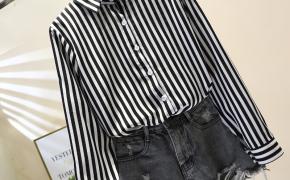 淘宝集运转运到加拿大2019春季韩范新款小清新条纹长袖女式衬衫时尚百搭气质上衣潮