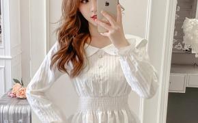 淘宝集运转运到荷兰2019新款秋装韩版娃娃领长袖收腰显瘦荷叶边雪纺衫女士白衬衫上衣