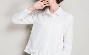 淘宝集运转运到荷兰女士衬衫长袖2019秋装新款韩版纯棉衬衣短款小心机荷叶边上衣棉质