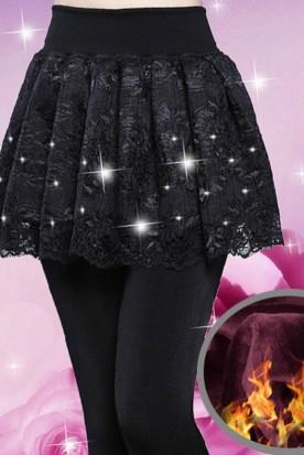 英国国内快递到女士踩脚蕾丝假两件带裙子黑色秋季裤子冬季打底裤加绒加厚女外穿时效