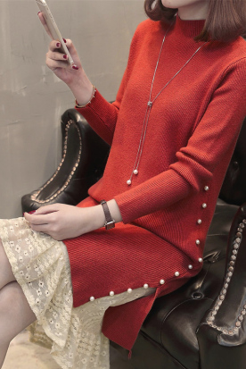 英国国内快递到女士配大衣的毛衣裙长款过膝2019新款蕾丝鱼尾内搭针织连衣裙女冬时效