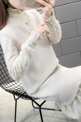 意大利国内快递到女士长款过膝毛衣裙2019新款内搭洋气蕾丝高领针织打底连衣裙秋冬时效