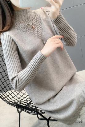 意大利国内快递到女士蕾丝中长款毛衣裙2019新款女装冬装内搭配大衣针织打底连衣裙时效