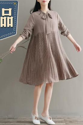 墨西哥国内快递到2019韩系气质甜美p0lo领连衣裙宽松复古绑带领中长裙女士夏季新款时效