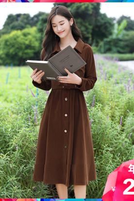 英国国内快递到长袖灯芯绒连衣裙 星诺2020秋冬新款复古森系长裙冬季法式裙子时效