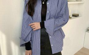 淘宝集运转运到日本2019新款蓝白色竖条纹衬衫裙女士宽松复古chic港风设计感小众