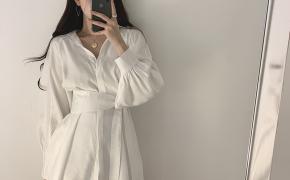 淘宝集运转运到德国很仙的衬衣抖音同款束腰衬衫女chic风白色灯笼袖设计感系带两件套