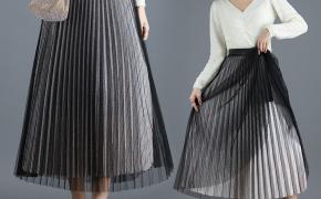 淘宝集运转运到澳大利亚半身裙两面穿网纱秋冬女士中长款黑色纱裙百褶裙大摆长裙a字裙子