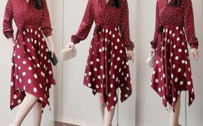 淘宝集运转运到德国2019流行夏天长裙子新款气质韩版红色雪纺复古a字波点女士连衣裙