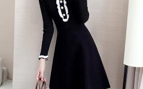 淘宝集运转运到德国针织衫女黑色连衣裙 秋冬 中长款小香风新款女式打底A字毛衣裙