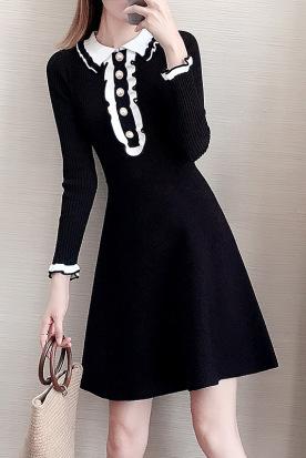 德国国内快递到针织衫女黑色连衣裙 秋冬 中长款小香风新款女式打底A字毛衣裙时效