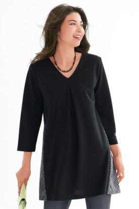澳大利亚国内快递到V领T恤 2019春 侧面针织拼接女士七分袖套头衫裙衣有加大码L-6L时效