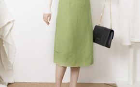 淘宝集运转运到日本ins青草绿夏天棉麻裙子女士半身裙2018春新款包臀高腰过膝复古