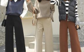 淘宝集运转运到新西兰毛呢阔腿裤女冬高腰八分冬季小个子七分奶奶裤米焦糖色直筒宽腿裤