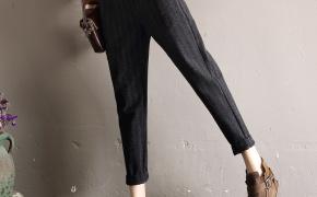 淘宝集运转运到韩国轩兹休闲毛呢萝卜裤女宽松2020春装新款韩版高腰哈伦裤小脚九分裤