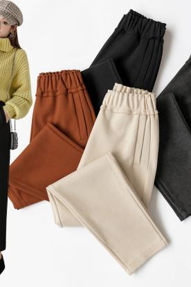 菲律宾国内快递到145矮个子搭配xs显高八分裤女小个子150cm休闲裤子毛呢哈伦裤秋冬时效