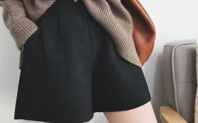 淘宝集运转运到意大利秋冬韩国女士高腰复古简约阔腿a字打底靴裤宽松显瘦百搭毛呢短裤