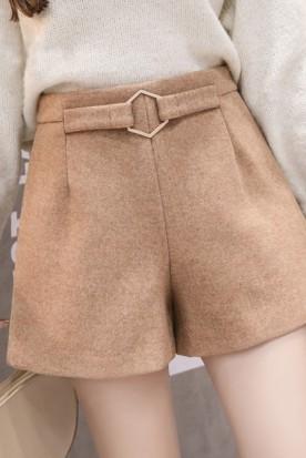 德国国内快递到阔腿短裤女士春装2020款女新款高腰毛呢直筒休闲裤子潮流冬款外穿时效