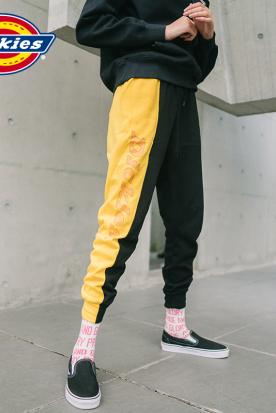 香港国内快递到Dickies字母印花腰部抽绳卫裤 女式撞色拼接休闲长裤新品DK007048时效