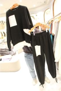 邮多多淘宝集运转运韩国代购东大门新款女装STAGE 女士宽松插袋休闲裤套装均码