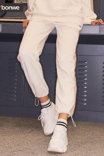 邮多多淘宝集运转运美特斯邦威休闲裤女2020新款春季潮流韩版条纹学生款女士束脚裤