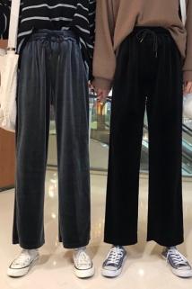 邮多多淘宝集运转运春款外穿女士休闲裤宽松版丝绒裤女阔腿小个子洋气薄款潮流中学生