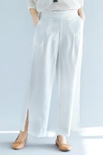 邮多多淘宝集运转运新款时尚高腰显瘦亚麻阔腿裤女式宽松棉麻休闲长裤