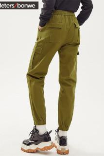 邮多多淘宝集运转运美特斯邦威束脚工装裤女2020新款春季潮流宽松休闲纯色女士休闲裤