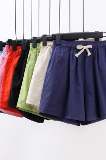邮多多淘宝集运转运夏季仿棉麻休闲短裤女士松紧裤五分裤加肥加大码沙滩裤运动裤女。
