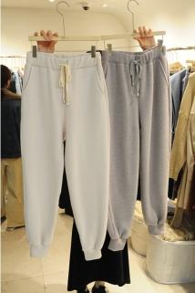 邮多多淘宝集运转运韩国东大门代购FIND J 女士简洁宽松系带休闲裤左/右色均码
