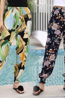 邮多多淘宝集运转运女士夏季透气防蚊裤豹纹绵绸宽松灯笼裤海边休闲度假宽松沙滩长裤