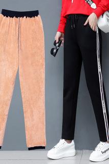 邮多多淘宝集运转运。冬季女士加绒裤外穿加厚羊羔绒裤高腰大码直筒休闲棉裤保暖直筒