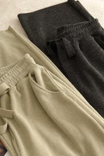 邮多多淘宝集运转运季末清版 女士针织垂感阔腿裤  纯色百搭罗纹休闲长裤 春秋款