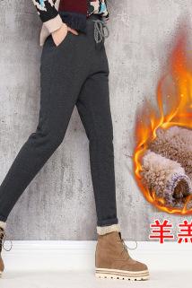 邮多多淘宝集运转运羊羔绒加绒加厚休闲裤大码女式哈伦裤高腰秋冬季保暖小脚长裤潮