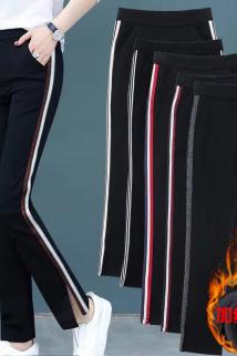 邮多多淘宝集运转运。加绒加厚裤子女秋冬女士九分裤休闲运动裤直筒微喇叭阔腿裤宽松
