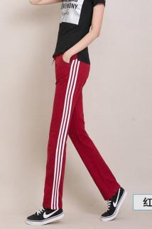 邮多多淘宝集运转运。直筒运动裤女士秋冬季修身显瘦加绒三条杠长裤纯棉学生大码休闲