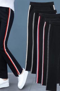 邮多多淘宝集运转运。裤子女2020新款夏韩版女士休闲运动裤微喇叭阔腿裤宽松直筒高腰