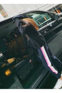 邮多多淘宝集运转运春季新款针织时尚休闲灰色束脚运动女式高腰哈伦裤子直筒宽松百搭