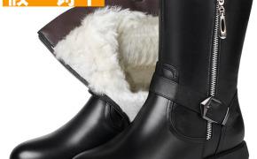 淘宝集运转运到西班牙冬季加绒短靴女士棉鞋中筒靴真皮羊毛棉靴女式皮棉鞋妈妈鞋棉皮鞋