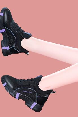 墨西哥国内快递到黑色运动鞋女2019秋冬季新款百搭女士厚底休闲旅游鞋加绒保暖冬鞋时效