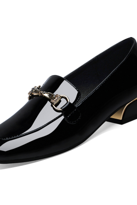 荷兰国内快递到女士皮鞋2019新款女鞋秋冬乐福鞋中跟小百搭英伦漆皮单鞋春秋鞋子时效