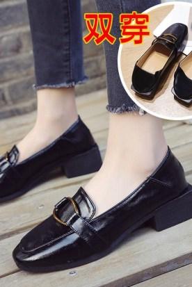 荷兰国内快递到2018春季新款时尚单鞋乐福鞋女鞋小皮鞋粗跟英伦风韩版高跟女士鞋时效