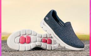 淘宝集运转运到韩国Skechers斯凯奇女士奶奶鞋一脚蹬懒人鞋闪粉网布休闲健步鞋15757