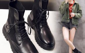 淘宝集运转运到韩国帅气真皮马丁靴女欧美个性潮流透气针织袜子鞋高帮机车靴显瘦英伦