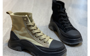淘宝集运转运到韩国卯上厚底帆布马丁靴女2019秋季新款机车短靴网红系带户外工装军靴
