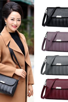 韩国国内快递到妈妈包斜挎包中年女包2019新款包包女士简约百搭大容量单肩包时效