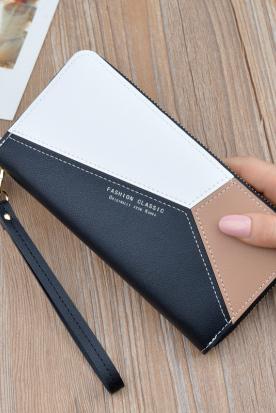 菲律宾国内快递到女士手拿钱包女长款三色拼接撞色气质简约拉链手机包学生钱夹皮夹时效
