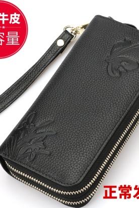 日本国内快递到2020新款真皮钱包女士长款大容量双拉链手拿包双层可放零钱手机包时效