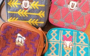 淘宝集运转运到新西兰包邮 日本 可爱卡通唐老鸭 黛丝 米奇米妮刺绣方形女士斜挎包袋